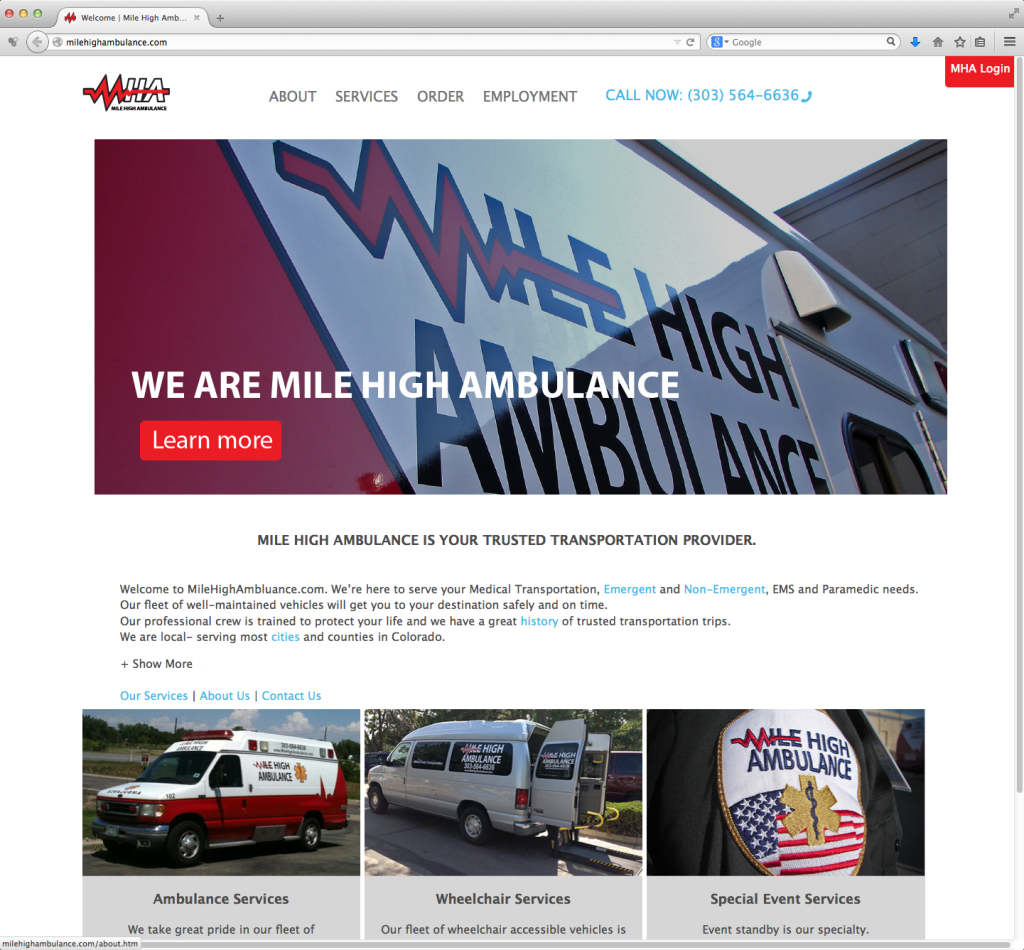 Mile High Ambulance Index page