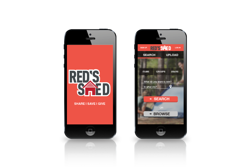 Red's Shed App launch screens