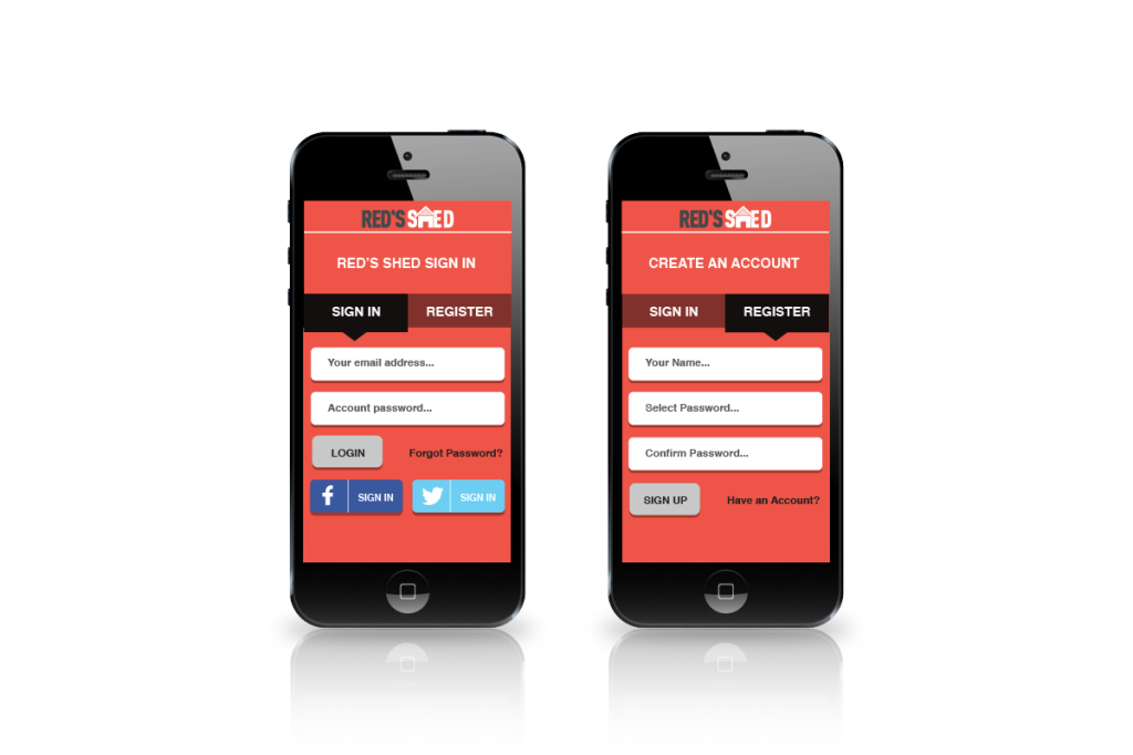 Red's Shed App Registration screens