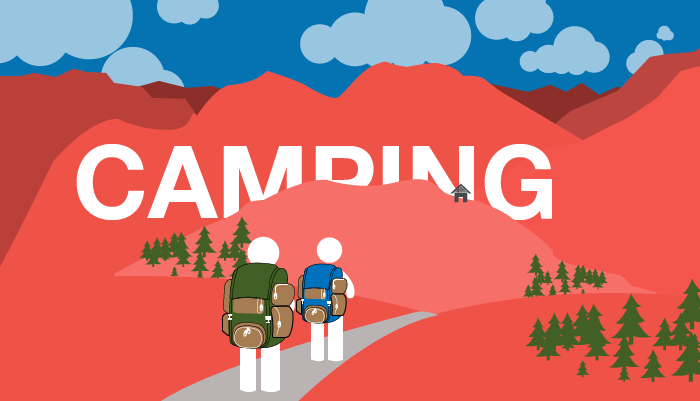 Camping Graphic for Red's Shed Blog