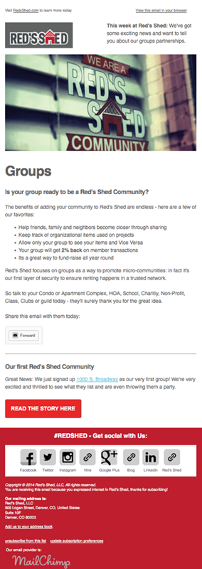 Red's Shed Groups Email