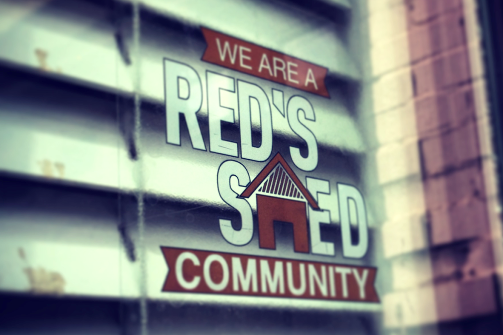 Red's Shed Community Window sticker