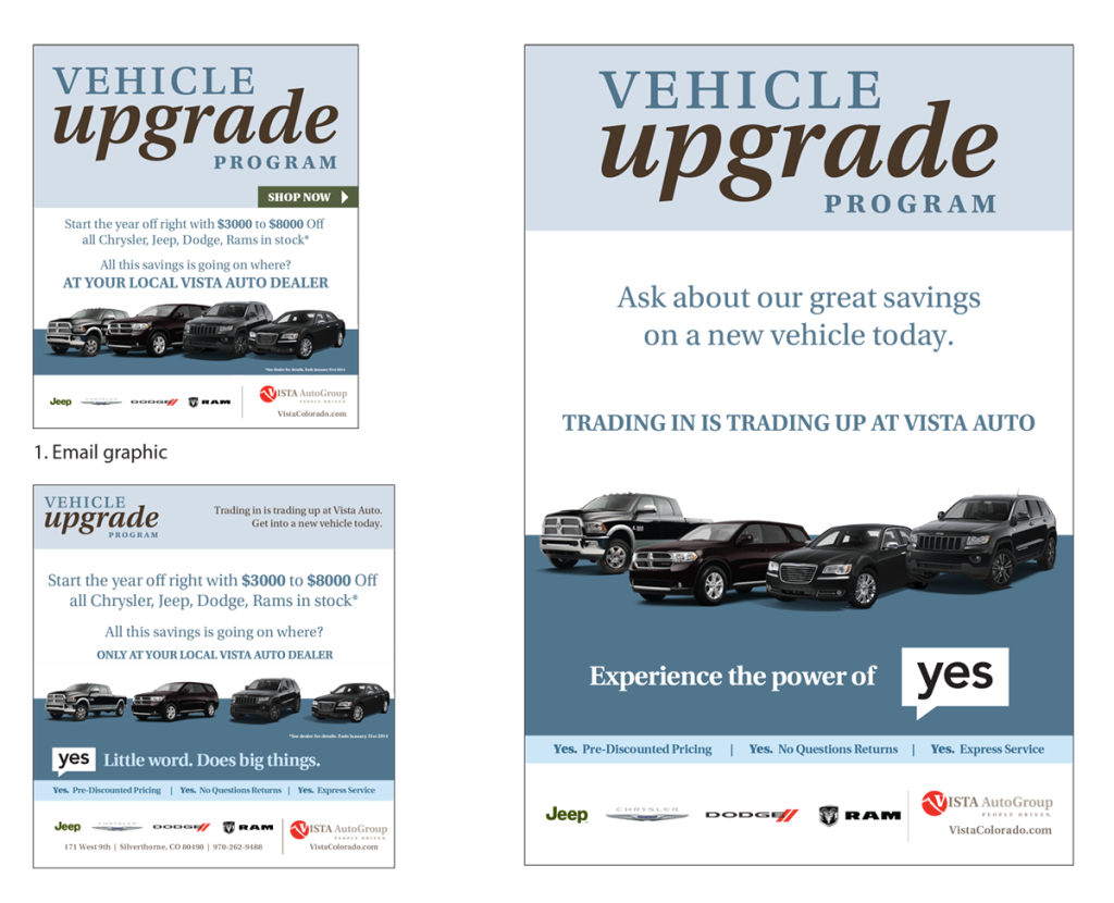 Vista Auto Ad campaign samples
