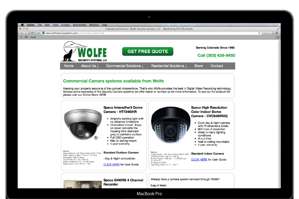 Wolfe Security System Camera example page