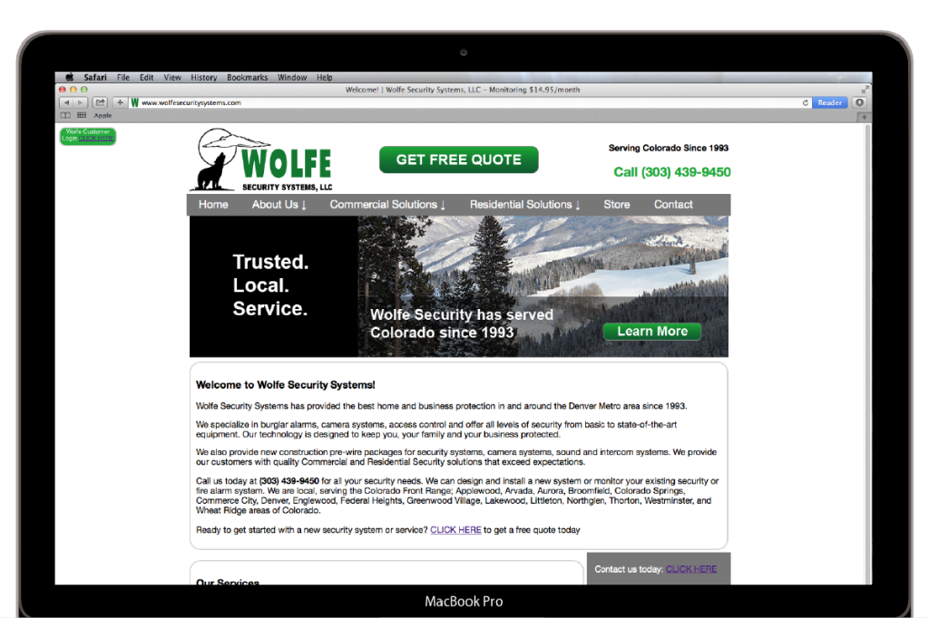 Wolfe Security Systems Index page