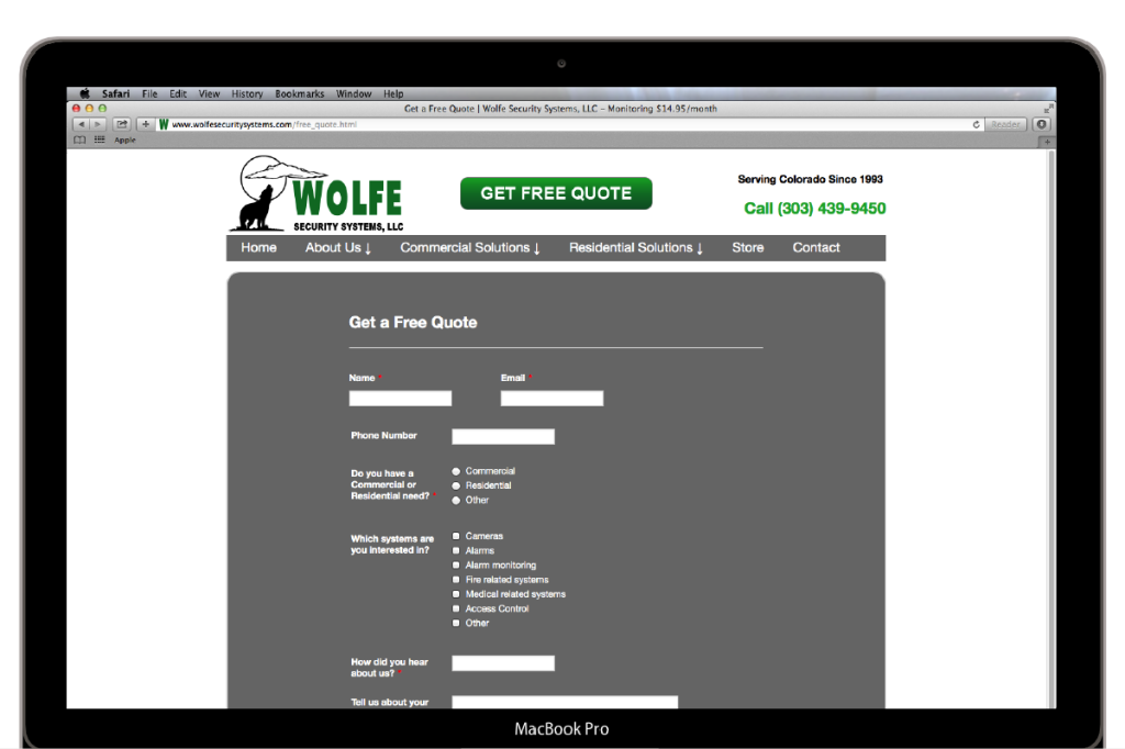 Wolfe Security Systems Quote Page